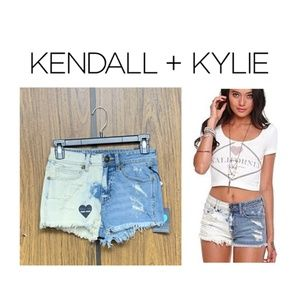 NEW Kendall & Kylie Two Tone Bleach Denim Shorts
